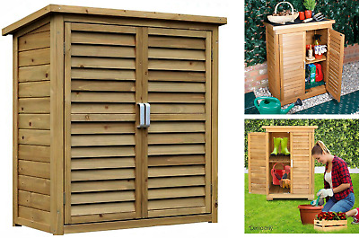 Portable Wooden Outdoor Garden Cabinet Shed Shelf Cupboard Utility Storage Tools • 124.99£