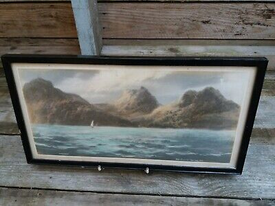 Antique Watercolour Over Print By Artist C Russell - The Cullins From The Sea  • 5£