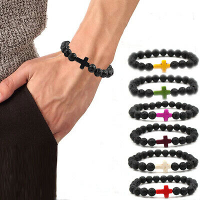 AU4.99 • Buy Healing Lava Stone Cross Bracelet Oil Diffuser Beads For Men And Women