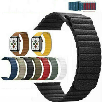 AU16.99 • Buy For Apple Watch Band Series 6 5 4 3 2 1 SE 42 44mm Magnetic Leather Loop Strap