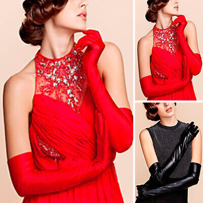 1 Pair Women Party Glove Long Elbow Mitten Latex PU-Leather Opera Bridal Fashion • 4.87£