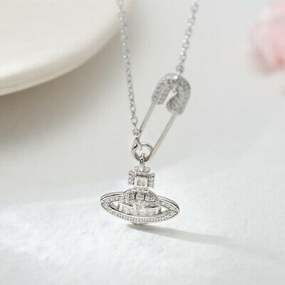 Bling Iced Out Orb Safety Pin Diamante Pendant Silver Gold Chain Necklace Gift • 4.99£