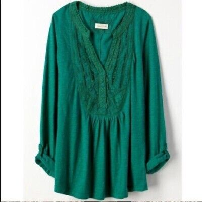 $ CDN33.11 • Buy Anthropologie Meadow Rue Green Ansonia Top Large