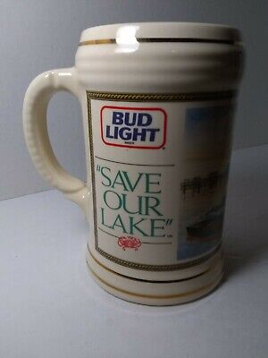 $ CDN56.29 • Buy Anheuser Busch Budweiser Stein BUD LIGHT   Save Our Lake  1991 Pontchartrain