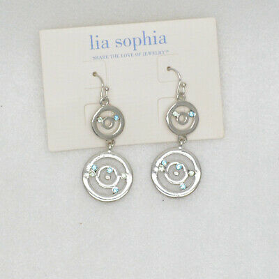 $ CDN9.07 • Buy Lia Sophia Women Jewelry Silver Plated Cut Crystals Blue Green Openwork Earrings