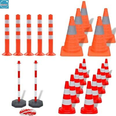 Traffic Control Road Barrier Bollard Plastic Safety Cones Chain Post Reflective • 46.49£