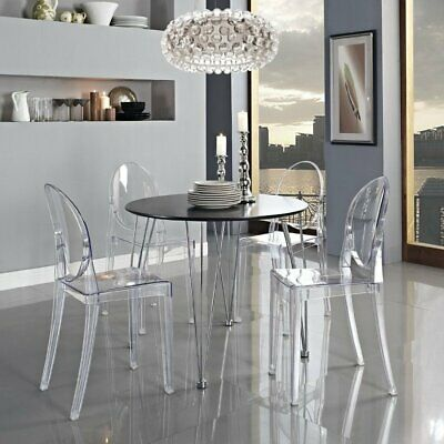 AU185.99 • Buy Furgle Clear Ghost Chairs Transparent Dining Chair Modern Oval  Acrylic Vanity