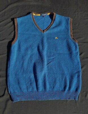 $40 • Buy BURBERRY LONDON Solid Blue 100% Wool V Neck Sweater Vest Mens Size XXL