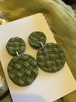 Polymer Clay Earrings Handmade Christmas Gift Women's Jewellery Her Khaki • 5.99£