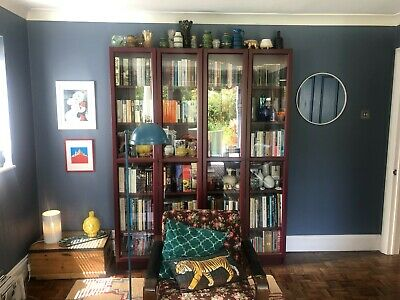 2 X Ikea Billy Bookcases With Glass Doors - Dark Red - Only 18 Months Old • 6.70£