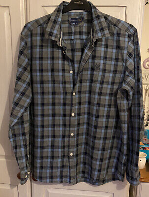 Men's Blue & Grey Check Shirt From Lincoln  Size Large • 3£