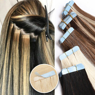 100G THICK Tape In Russian Remy Human Hair Extensions Skin Weft Blonde Ombre DQ4 • 13.93£