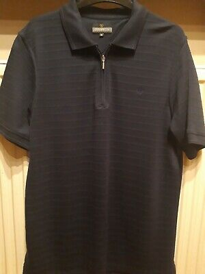 Mens Lincoln Zip Polo Style Shirt, Navy Size Medium, Chest 38-40   • 0.99£