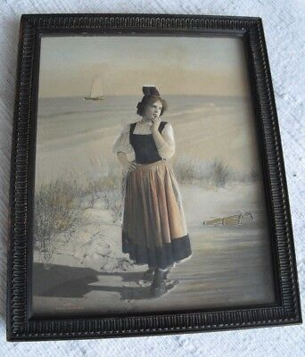 Superb-Edwardian-Picture,Dutch Girl,Stereograph,Campbell Art Co,N Jersey,Holland • 45£