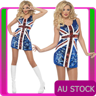 AU47.49 • Buy Ladies Sequin Ginger Spice Girls Costume Union Jack Fancy Dress 90s Pop Star 80s