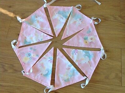 Laura Ashley Pink Unicorn Fabric Hand Made Bunting Flags - 3 Metres • 13.50£
