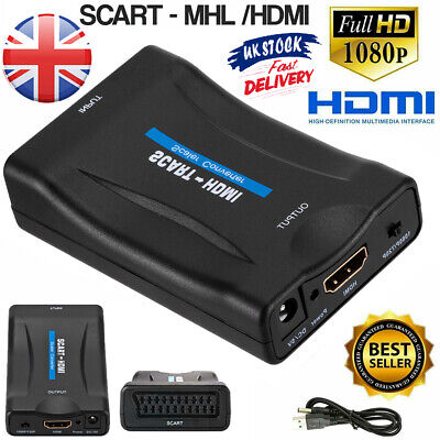 SCART To HDMI Composite 1080P Video Scaler Converter For DVD TV With UK Adapter • 13.86£