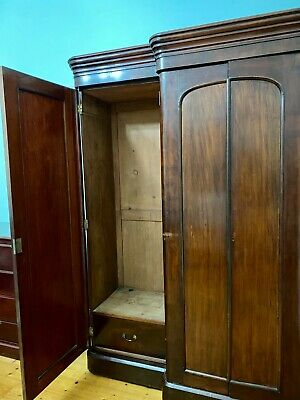 AU1300 • Buy Victorian Antique Solid Mahogany Wardrobe