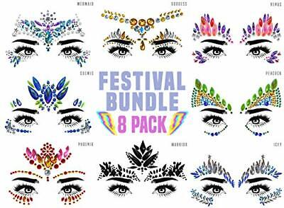 Face Gems 8 (UK COMPANY) Pack Face Stickers Set Festival Accessories Face Jewels • 15.83£