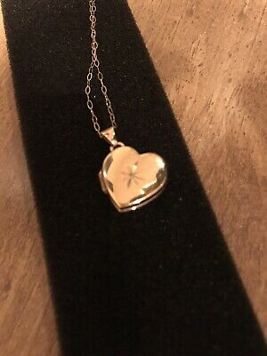 9ct Hallmarked Locket With A Diamond On A 16inch Gold Chain Necklace • 32£