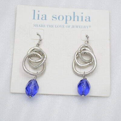$ CDN9.07 • Buy Lia Sophia Jewelry Antique Silver Tone Knot Chunky Blue Acrylic Hoop Earrings