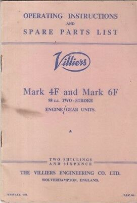 VILLIERS  Mk 4F & 6F 98cc 2-STROKE ENGINE/GEAR UNIT OWNERS HANDBOOK & PARTS LIST • 27.50£