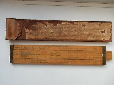 Early Stanley Boxwood Carpenter`s Slide Rule & Fold And Tab Leather Case. • 23£