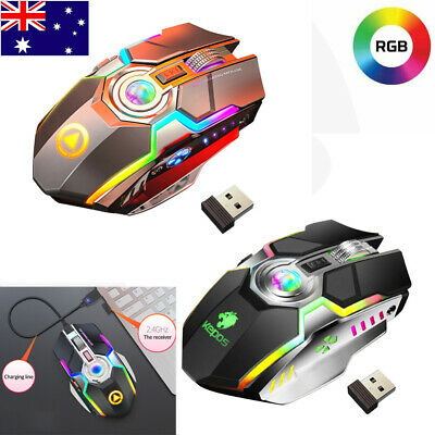AU18.58 • Buy LED Wireless Gaming Mouse Optical PC Game Mice USB Rechargeable For PC Laptop AU