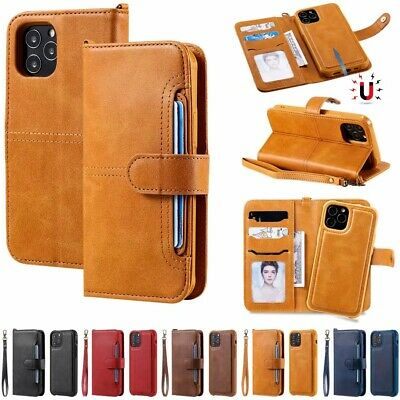 F IPhone 12 Pro Max 11 Xs 7 8 Detachable Magnetic Leather Flip Wallet Case Cover • 6.99£