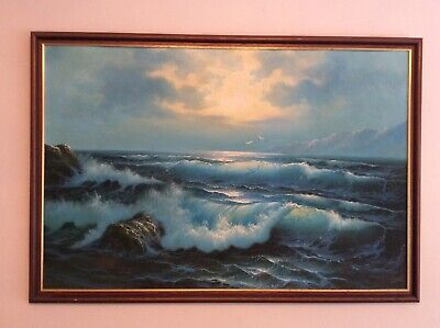 Sea Scape Original Painting, Framed And Signed. • 80£