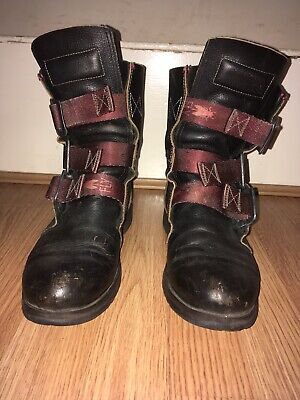 Ladies Fly London Stif Low Heel Buckle Army Biker Leather Ankle Boots Size 7 • 21£