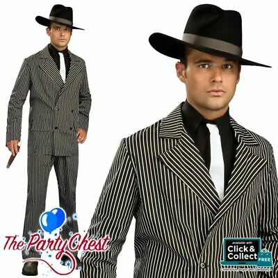20S PINSTRIPE GANGSTER SUIT COSTUME Mobster Boss Valentines Fancy Dress Outfit  • 20.95£