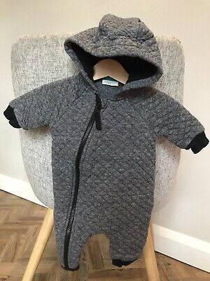 NEXT Baby Unisex Boy Up To 3 Months 0-3 Pram Suit Sleepsuit Quilted Warm Grey • 2.99£