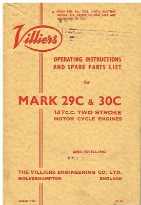 VILLIERS Mk 29C & 30C 147cc 2-STROKE ENGINE 1955 OWNERS HANDBOOK & PARTS LIST • 45£