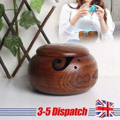 Yarn Bowl Holder Knitting Crochet Yarn Wool Wooden Container Storage With Lid • 15.05£