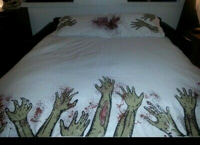 HAND PAINTED Zombie Apocalypse, Gothic,  Horror Halloween Duvet Set -  Double • 19.99£