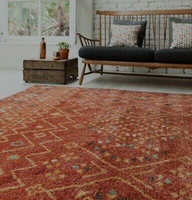 Asiatic Yale Rug 120X170cm Brand New Rust Ethnic Boho Multi Tribal Design Next • 75£