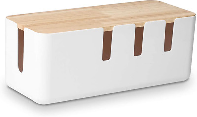 £19.09 • Buy Cable Management Box By Baskiss, 30.5x12.5x11.5cm, Wood Lid, Cord Organizer For