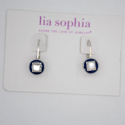 $ CDN7.77 • Buy Lia Sophia Signed Jewelry Silver Tone Cut Crystals Blue Enamel Button Earrings