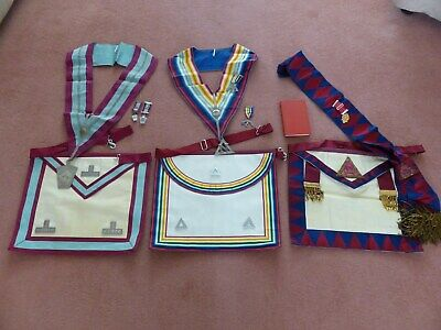 Masonic Regalia - Interesting Lot - 3no Aprons And Collars With Accessories • 29.99£