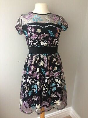 Ladies Wal G Embroidered Black Dress Size 8 Bnwt • 12.99£