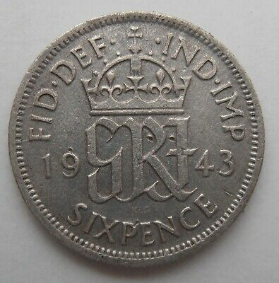 1943 Silver Sixpence  • 1.59£