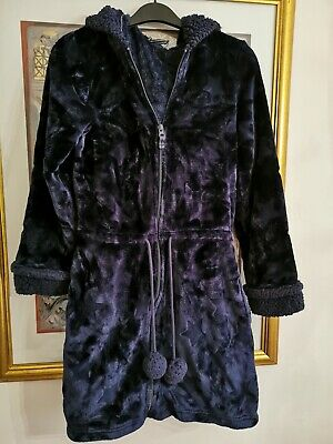 Ladies - M&S - Navy Zip Front Hooded Fluffy Dressing Gown - Size 6-8 • 5.99£