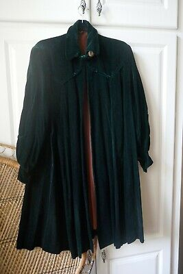 1920's Forest Green Velvet Cloak Cape Lined Coat With Antique Marcasite Buttons • 380£
