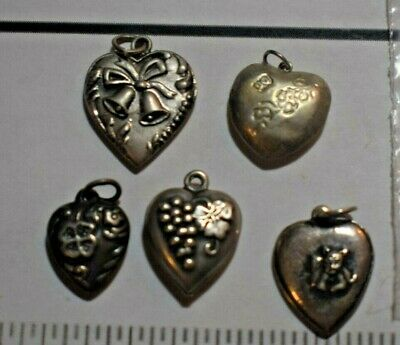 $ CDN1.28 • Buy Antique Sterling Silver Charm - Mixed Lot Of Vintage Hearts