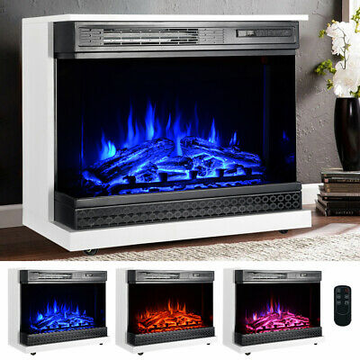 Electric Fireplace Log Burning 3 Flames Effect Stove Fire Heaters Remote Control • 319.14£