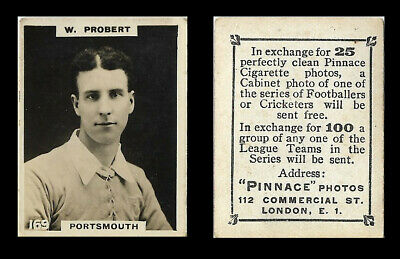 PHILLIPS - FOOTBALLERS (PINNACE) - CARD #169 - W. PROBERT, PORTSMOUTH - C.1922 • 1.50£