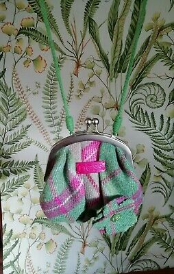 Nessgreen & Pink Tartan Peggy Bag With Brooch. 4.5  Wide 22 Strap Never Used • 5£