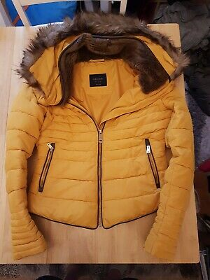 Ladies 'Zara'Hooded Coat. Mustard Colour. Fur Lined Neck And Hood. Size S..8-10. • 9£