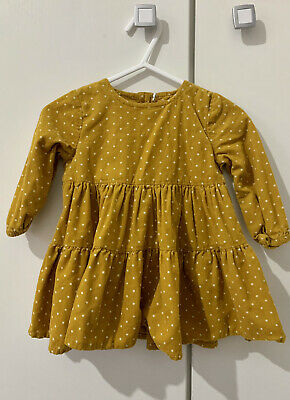 Baby Girl Mustard Spotted Dress 3-6 Months • 2£